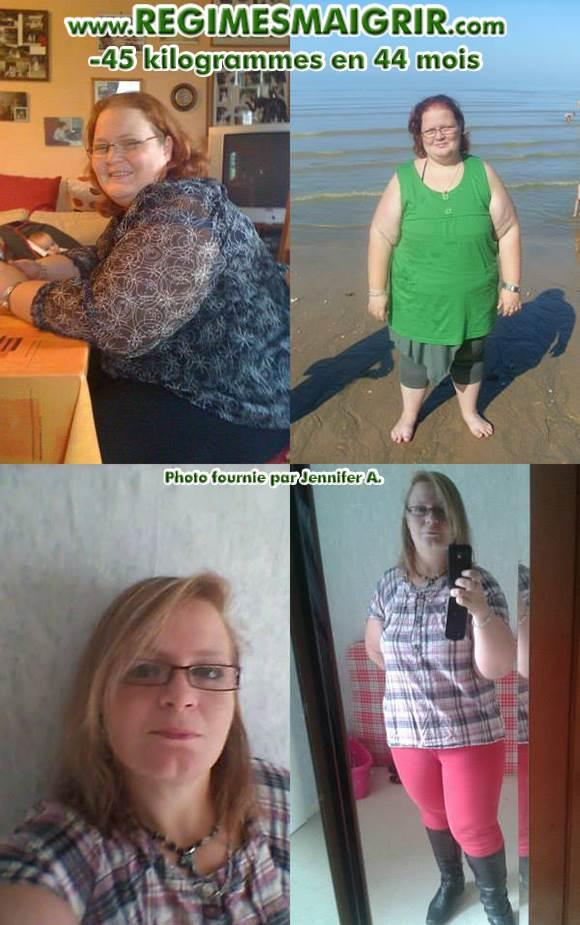 Jennifer Arnault a réussi une perte de poids de quarante-cinq kilogrammes en l'espace de quarante-quatre mois