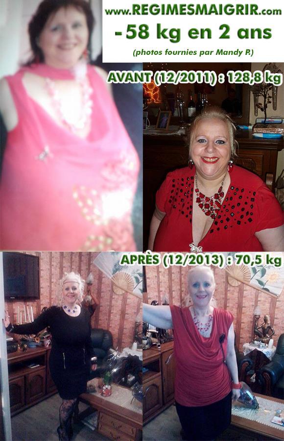 Mandy a perdu 58 kilogrammes entre décembre 2011 et décembre 2013