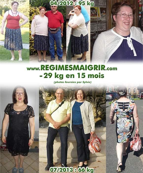 Sylvie pesait 95 kilos avant (en avril 2012), et 66 kilos après (en juillet 2013)
