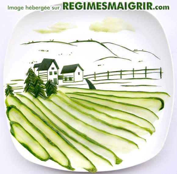 Scène de campagne reconstituée grâce à des morceaux de concombre