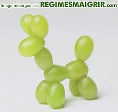 Chien en ballons de baudruche qui sont en fait des raisins verts