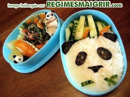 Panda dessiné par des nourritures placées adéquatement dans une boîte