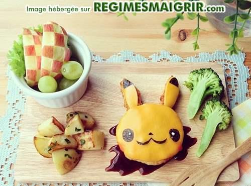 Le personne de dessin animé Pikachu est composé ici de morceaux de fromages