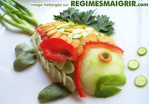 Un poisson est fabriqué avec des légumes seulement ici