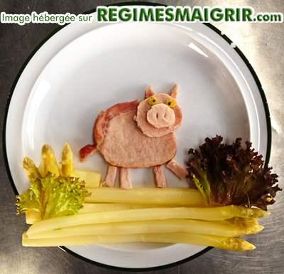 Porky Pig fait de jambon et d'asperges
