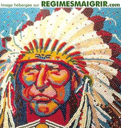 Portrait d'un Indien des Etats-Unis fait avec des milliers de bonbons