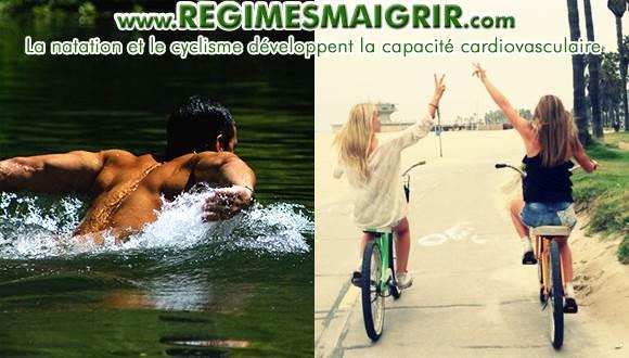 Nager et faire du vélo sont des activités sportives qui améliorent la capacité cardiovasculaire