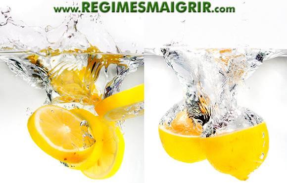 Des citrons coupés en deux sont plongés dans l'eau