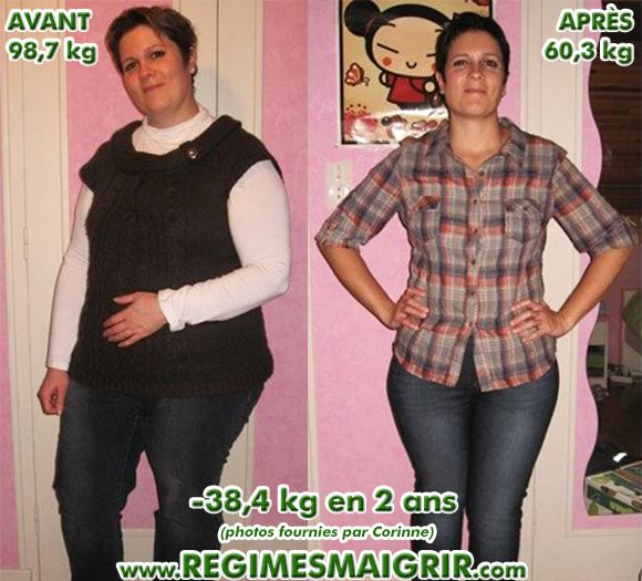 Transformation de Corinne avec 38 kilogrammes en moins