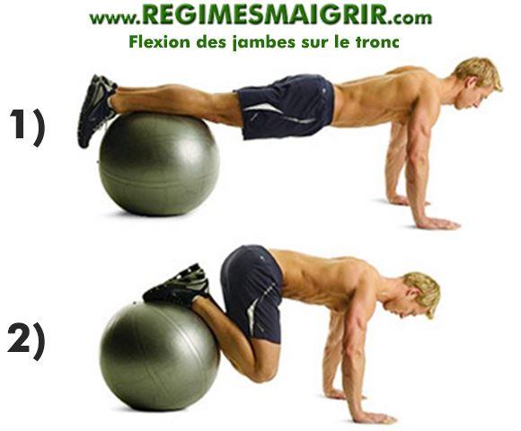 Flexion des jambes sur le tronc avec ballon suisse