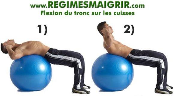 Flexion du tronc sur cuisses avec Gym Ball