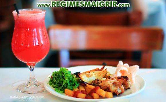 Repas léger pris au restaurant