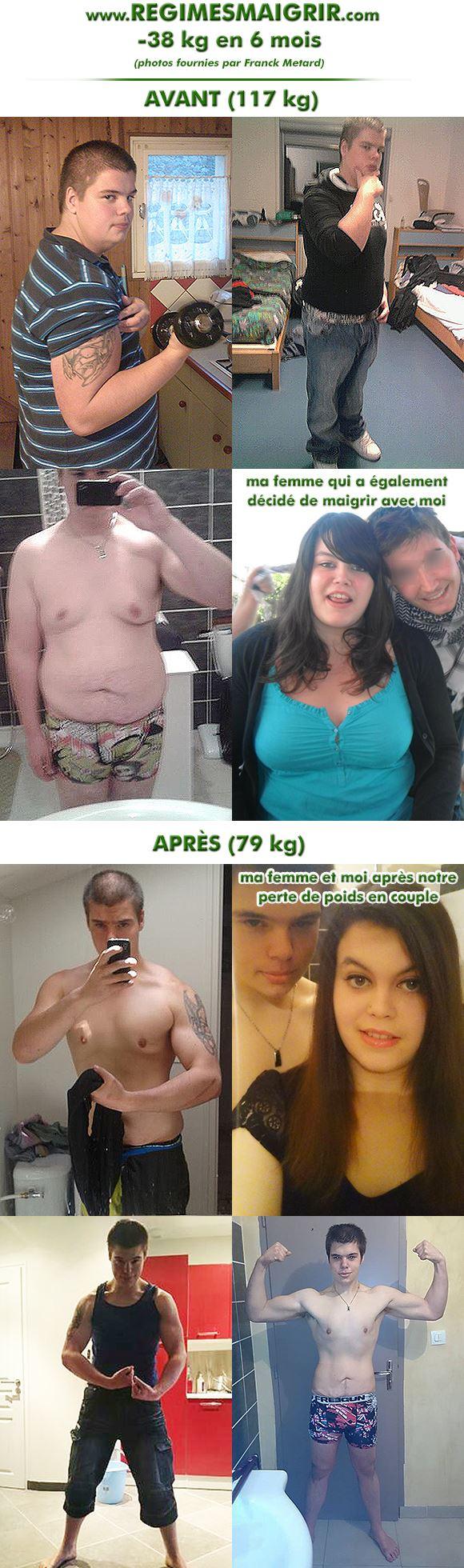 Franck Metard a perdu trente huit kilogrammes en six mois et sa femme seize kg