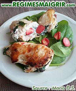 Photo du plat poulet farçi aux épinards et aux fraises