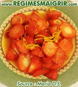 Photo du dessert fraises aux zestes d'orange