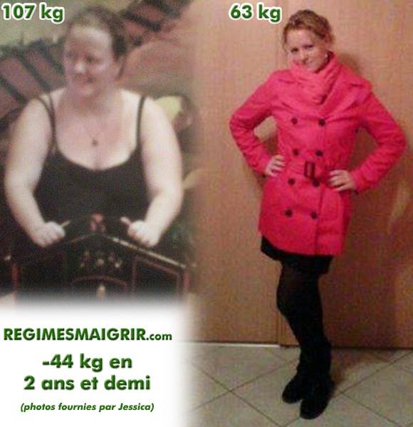 L'amaigrissement de 44 kilos de Jessica a été obtenu en deux phases