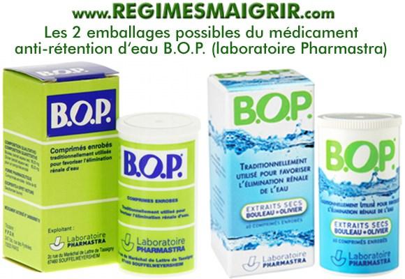 Les deux emballages possibles du médicament B.O.P. qui favorise l'élimination rénale d'eau donc aide à combattre la rétention d'eau