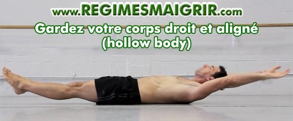 La technique hollow body permet de ne pas souffrir de maux dorsaux en faisant cet exercice