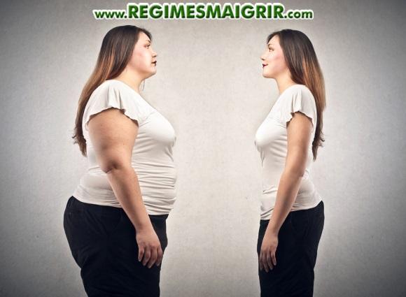 Une femme qui aime son propre image malgré des kilos en trop