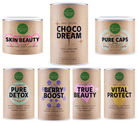 La gamme Daily Greens compte des produits phares comme Choco Dream, Pure Detox et Berry Boost
