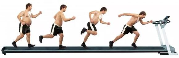 Les étapes de transformation d'un homme obèse au début et mince à la fin