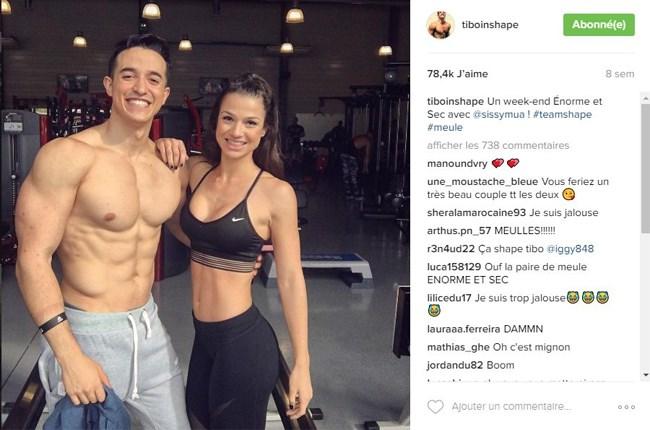 Tibo et Sissy Mua posant pour son très célèbre compte Instagram InShape