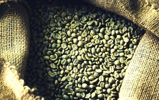Sac de grains de café vert
