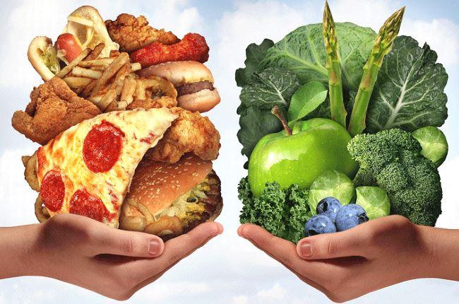 Les nourritures malsaines sont souvent très caloriques et sucrées alors que les aliments sains sont pauvres en calories