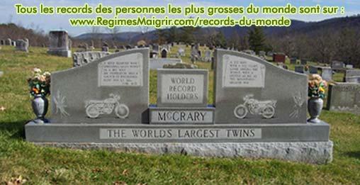 Le titre des Jumeaux les plus gros du monde orne leur pierre tombale (qui pèse 3 tonnes, soit le record mondial de poids pour une telle pierre)